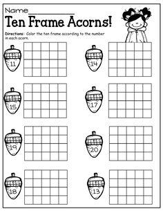 This is a set of 6 ten frame worksheets. Students will