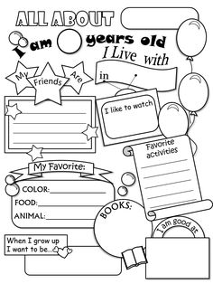 1000+ ideas about All About Me Worksheet on Pinterest