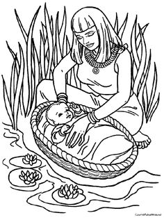 Baby Moses found by Pharaoh's daughter in the reeds