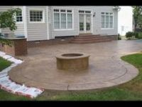 stairs, firepit, paver patio with travertine, Back Yards ...