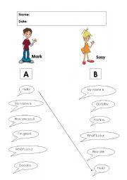 English worksheet: GREETINGS (English for beginners