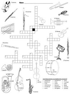 Word search puzzles, Word search and Musical instruments