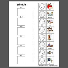 Visual Schedules Materials from the LessonPix Sharing