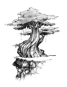 how to draw an oak tree, pen and ink tree, landscape in