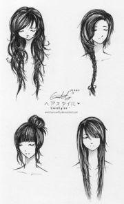 drawing art hair girl people female