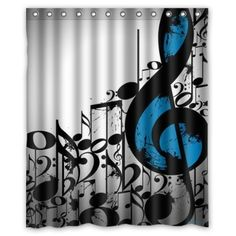 Treble Clef Sheet Music Notes Shower Curtain Bathroom Decor Fabric