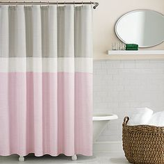 Lisa Argyropoulos Girly Pink Snowfall Shower Curtain Gray