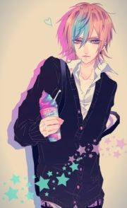 purple hair anime characters male