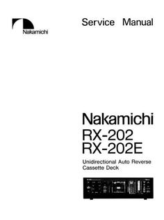 Nakamichi RX-505 Original Service Manual in PDF PDF format