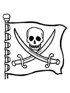 Jolly Roger Pirate Flag Coloring Page (free pirates