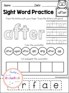 Crossword Puzzle: 3rd Grade SIGHT WORDS! Great