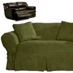 sure fit logan sofa slipcover standard dimensions reclining black suede adapted for dual ...