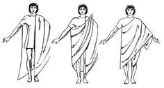 고대 로마 시민의 대표적인 남성복인 '토가' 지위에 따라서 다른 색과 장식을 사용하였다. 평민들은 갈색을
