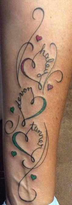 3 And Tribal Names Hearts Tattoo