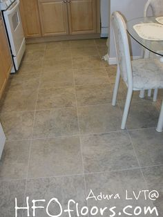 Mannington Adura LVT luxury vinyl tiles, grouted. LVT