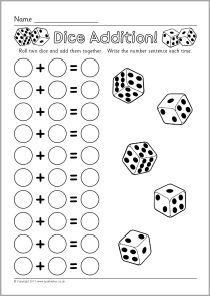 Addition worksheets, Dice and Worksheets on Pinterest