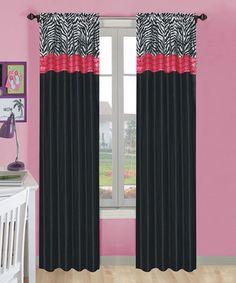 Hot Pink & Black Zebra Print Window Curtains Drapes Set Of 2