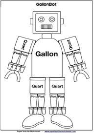 W13, GallonBot Capacity Worksheets (Gallons, Quarts, Pints