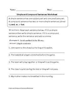 Writing Compound Sentences Worksheet Part 1
