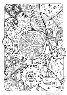 Free Steampunk Coloring Page Adult Coloring Fun