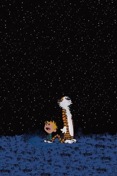 Falling Skies Wallpaper Calvin And Hobbes In The Starry Night Iphone 5s