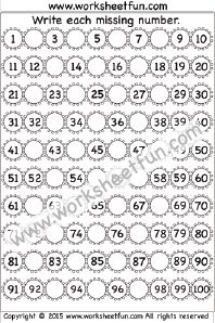 Tions of free worksheets like this one: Missing numbers (1
