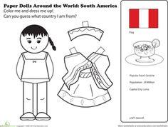 Hispanic Heritage Month First Grade Paper Dolls Community