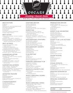 UPDATED FOR 2016! 2015 Printable Oscar Voting Ballot