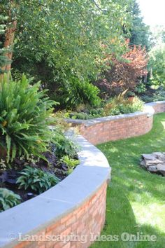Rock Fence Designs Curved Brick Retaining Wall With Front Yard