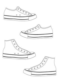 Running shoe pattern. Use the printable outline for crafts