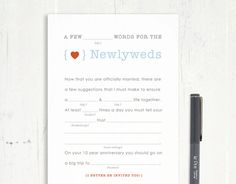 Mad libs, Guest books and Wedding on Pinterest