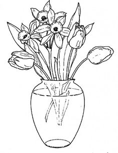 Flowers In A Clear Glass Vase Coloring Pages