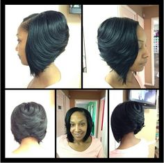 Sew In Weave Bob Hairstyles This Is A Feathered A Line Sewn In