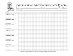 Printable chart for keeping track of kids medicines and