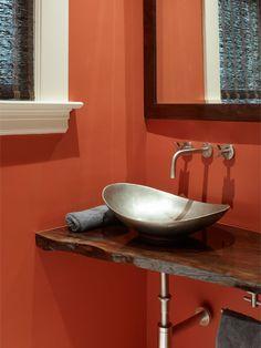 Wood Slab Vanity Bathroom Design Ideas Pictures Remodel