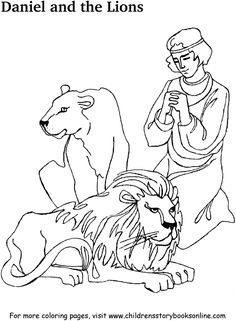 A coloring page from the bible story, Thrown To The Lions
