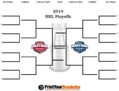 Free printable NHL brackets for this years NHL hockey