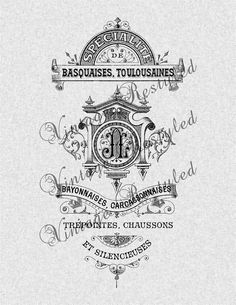 Vintage French Label Iron On Transfer Digital by