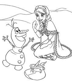 Desene de colorat cu Prietenii tai din Frozen Elsa Olaf