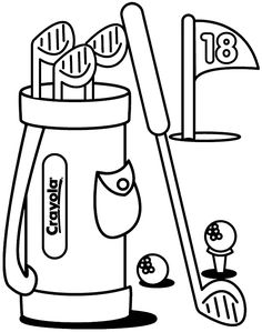 Golf club pattern. Use the printable outline for crafts