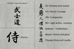 The 7 Virtues of Bushido: chuugi = loyalty; gi = justice