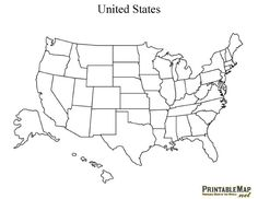 USA Blank Printable map with state names, royalty free