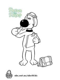 Shaun the sheep cartoon coloring pages for kids, printable