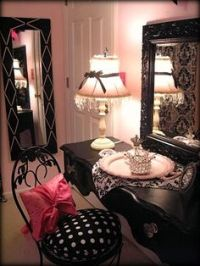 1000+ images about Pink Black and White Teen's Room on