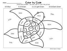 Addition facts, Color by numbers and Math facts on Pinterest