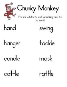 Chunky Monkey Reading Strategy: Lesson Plan, Center