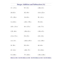 Integers (Opposites, Absolute Values, Situations