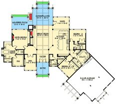 Contemporary House Plan 78715 3 Car Garage Breakfast Nooks And