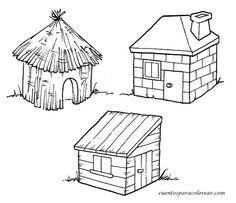 Dit zijn de drie huizen van de drie kleine biggetjes: het