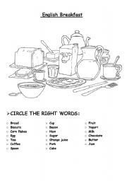 English worksheet: Breakfast and full English breakfast